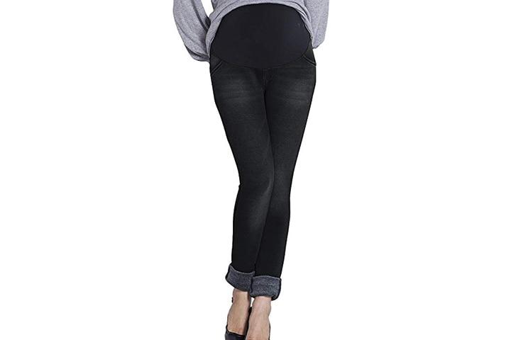 Sweet Mommy Maternity Fleece-Lined Denim Skinny Jeans