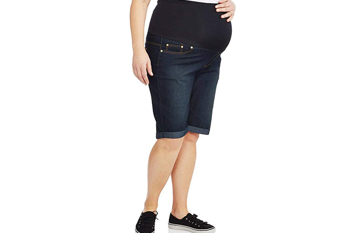 Rumor Has It Maternity Over The Belly Cuffed Bermuda Cropped Jeans Shorts