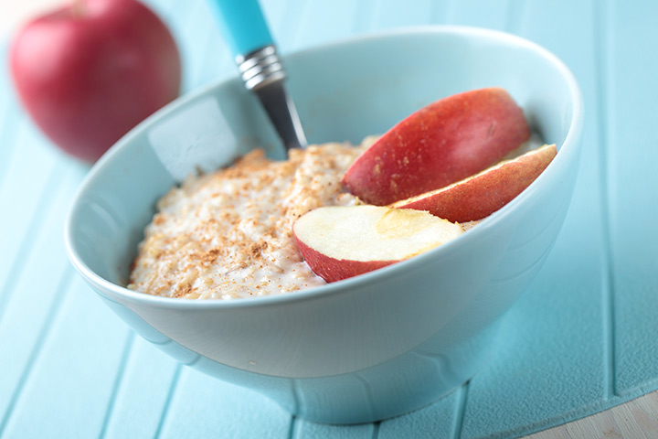 Apple, ragi, and oatmeal porridge