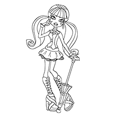 Draculaura Scary Optimistic Character of Monster High Image to Color
