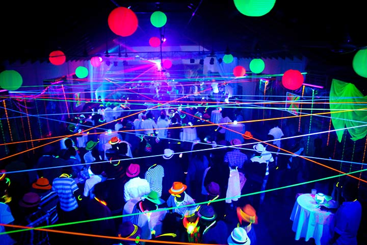 Glow-in-the-dark birthday party for boys