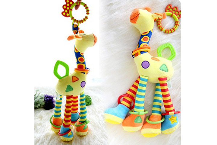 Infant Baby Development Soft Giraffe Animal Handbells Rattles Handle Toys