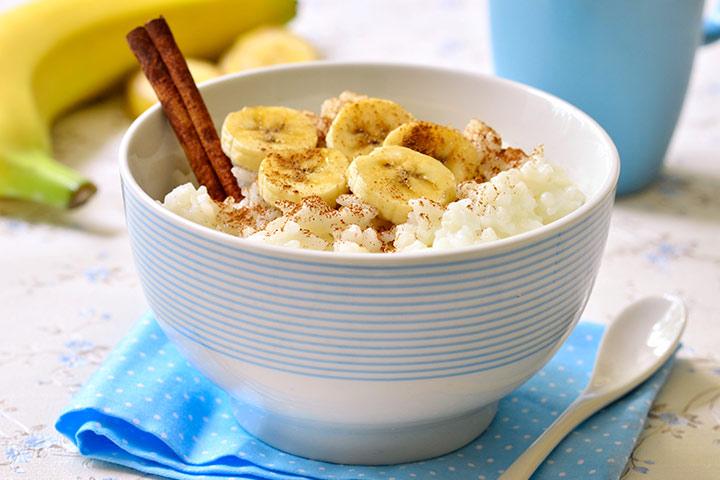 Rice and banana porridge