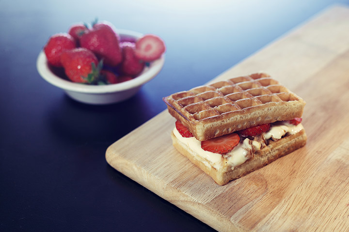 Strawberry and cream waffle sandwiches