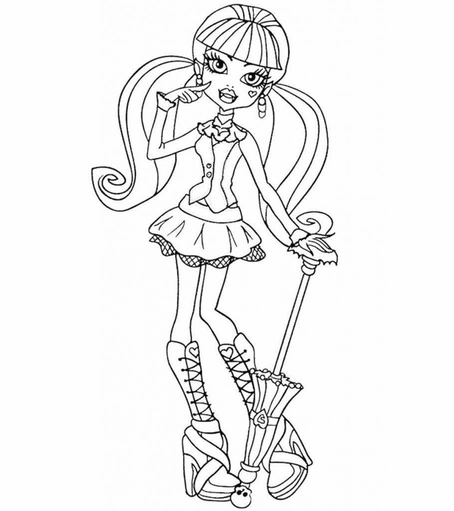 This is a graphic of Nerdy Monster High Coloring Page