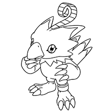 digimon coloring pages biyomon - Digimon Coloring Pages