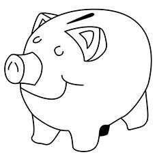 Easy Piggy Bank Coloring Sheet