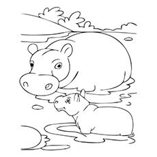 hippo with baby - Babies Coloring Pages