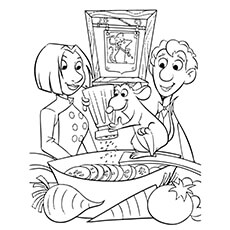 linguini and colette with remy pic to color - Ratatouille Coloring Pages