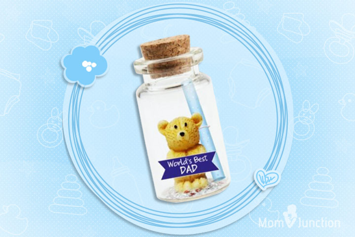 Message In A Bottle With Teddy And World's Best Dad Cut Out Bottle