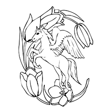 pegasus coloring pages pegasus by the flower