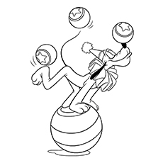 Pluto Doing tricks with Balls Coloring Page