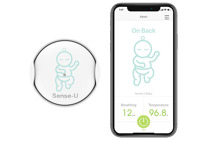 Sense-U Baby Monitor with Breathing Rollover Movement Temperature Sensors