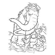 Ice Age Coloring Pages   Scrat. Sid With Manny