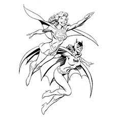 batgirl coloring pages supergirl and batgirl