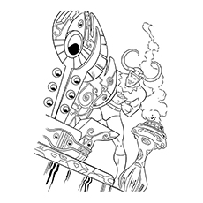 Thor In Action Coloring Page