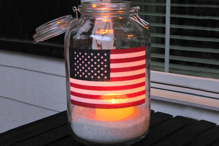 American Flag Lantern Using Mason Jar