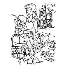 Character Anita of 101 dalmatians with her kid Coloring Pages