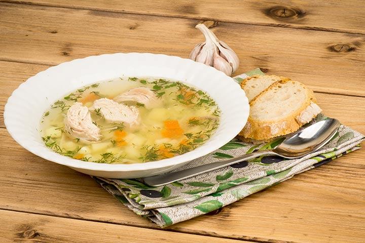 Chicken-garlic soup