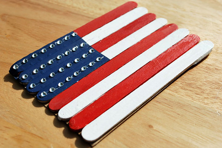 Fourth Of July American Flag Popsicle Stick Coasters