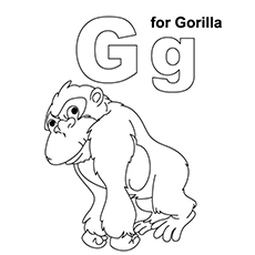 g for gorilla - Coloring Page Gorilla