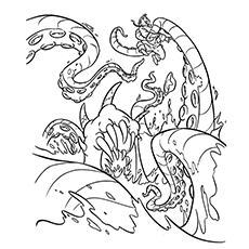 Coloring Page of Kraken is Sea Monster in Pirate of Caribbean