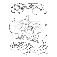jonah and the whale coloring pages out of whale - Whale Coloring Pages