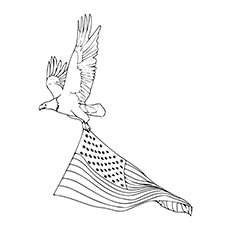 Coloring Pages of Eagle carrying on 4th Of July