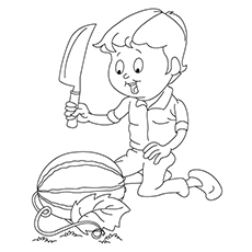 Watermelon Coloring Page - Boy With Watermelon