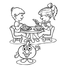 Tomato Coloring Page - Children Enjoying Tomato Dishes