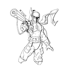 Boba Fett Coloring Page - Fett With His Rifle