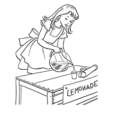 Lemon Coloring Page - Girl Making Lemonade
