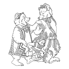 Goldilocks And The Three Bears from Jan Brett Picture to Color