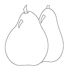 free printable pear coloring page template to print full size