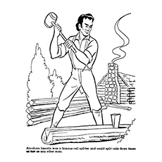 abraham lincoln coloring pages lincoln chopping woods