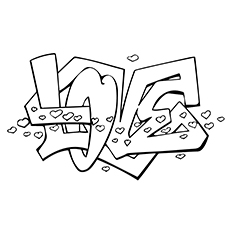 graffiti coloring pages love