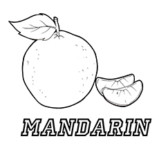 Mandarin Orange with Two Slice Coloring Page