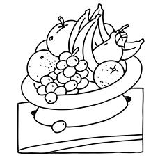 Orange In A Fruit Bowl Coloring Sheet Free