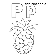Pineapple Coloring Page - P For Pineapple