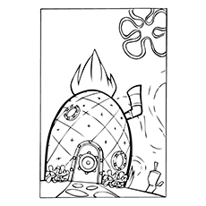 pineapple coloring page spongebobs pineapple house - House Coloring Pages Toddlers