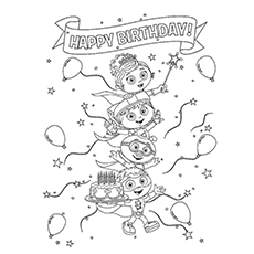 coloring page of super readers team wishing happy birthday
