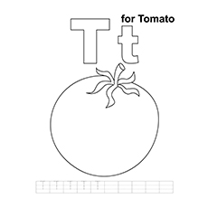 Tomato Coloring Page - T for Tomato
