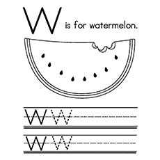 Watermelon Coloring Page - W For Watermelon
