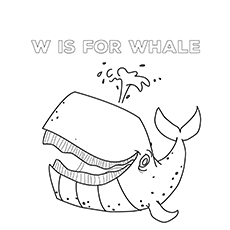 W For Whale coloring pages