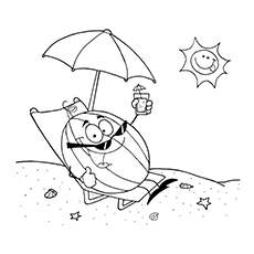 Watermelon Coloring Page - Watermelon At The Beach