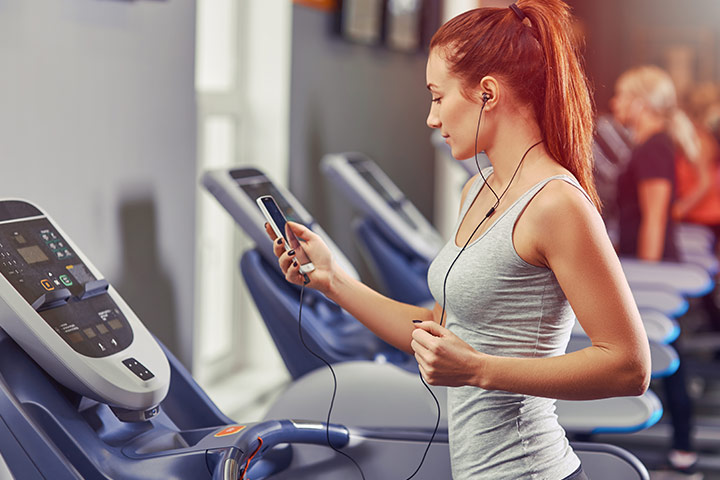 Workout on treadmill or elliptical
