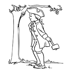 Coloring Sheet of Young George Washington