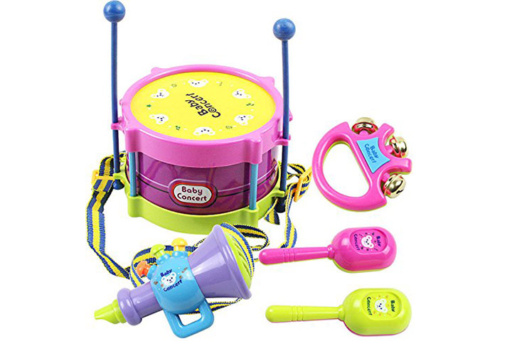 5 PCS Baby Infant Toddler Developmental Toy Kids drum rattles Educational Game