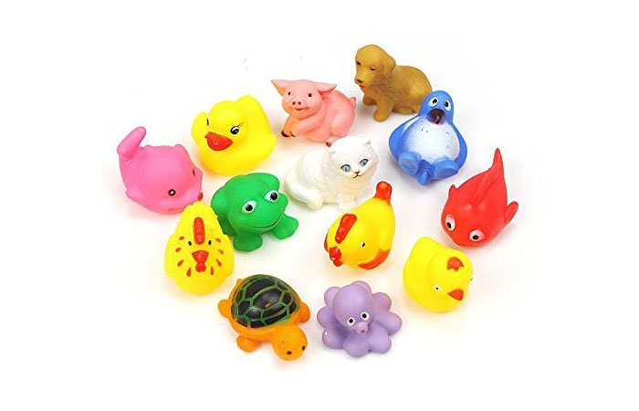 8pcs Random Lovely Rubber Squeaky Animal Bath Toys Floating Fun For Baby 15