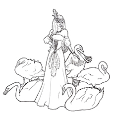 Swan Coloring Pages - A Beautiful Maiden Surrounded By Swans